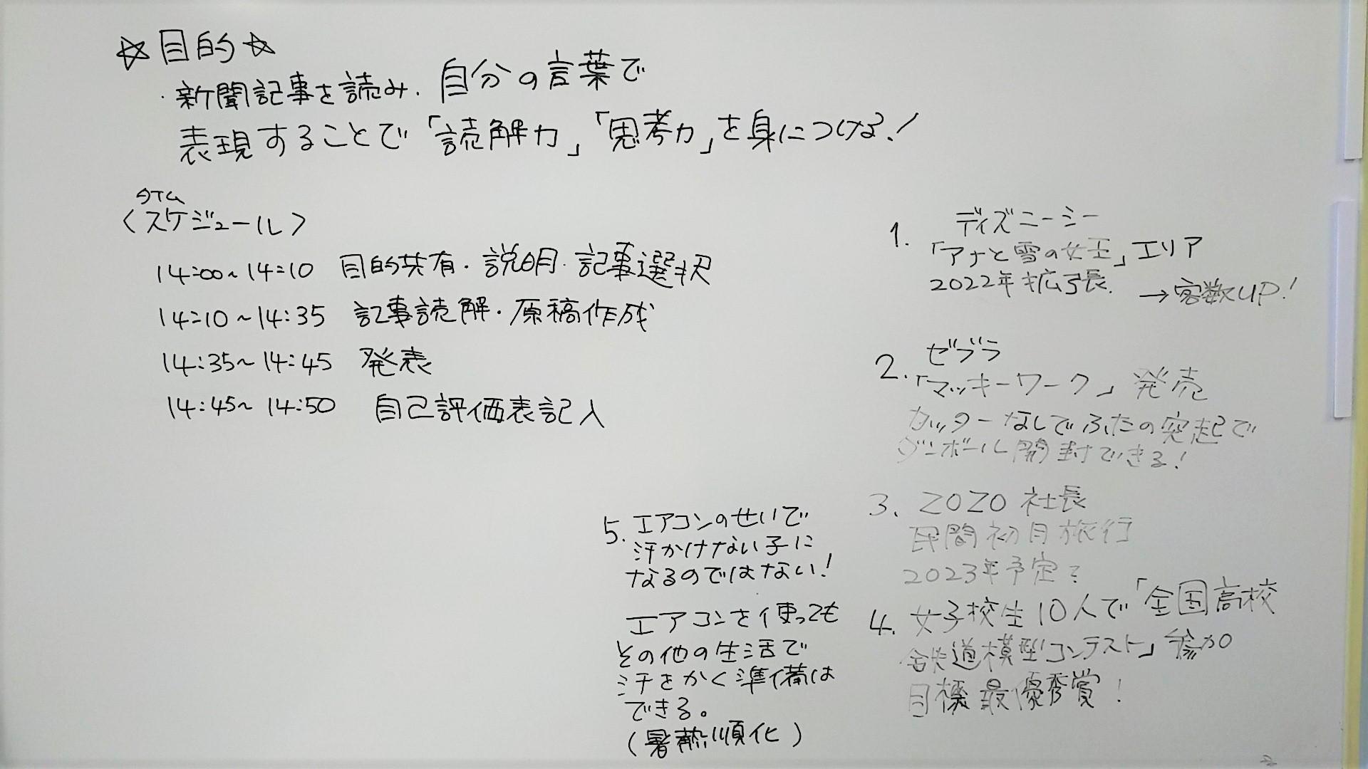 就労移行支援事業所リンクスの新聞読解